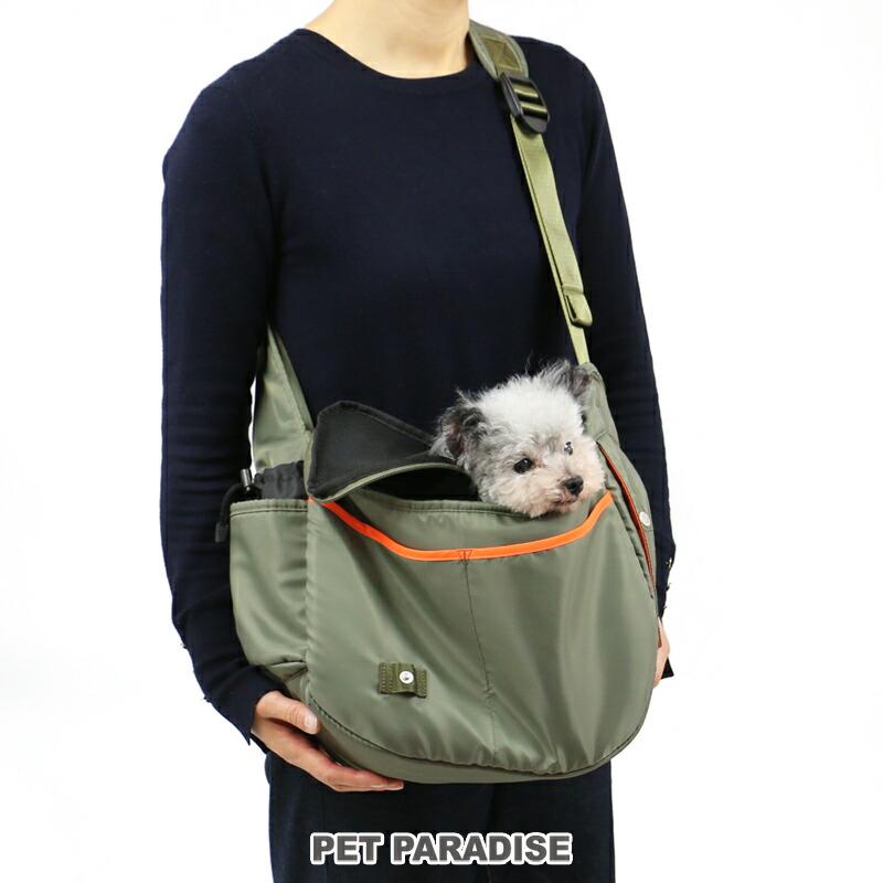 カーキ ショルダーキャリーバッグ【小型犬】
