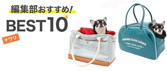 様々な形状のキャリーバッグに収まった小型犬チワワのイメージ